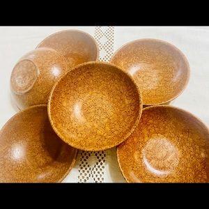 """Six Vintage Boltalite 6"""" Bowls Faux Burl Melamine"""